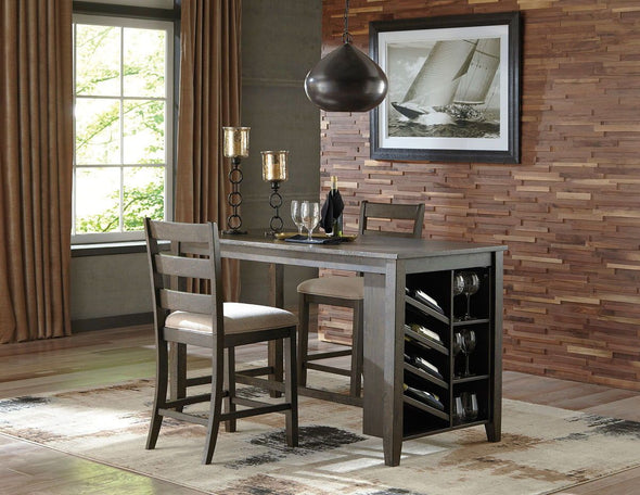 Rokane - Light Brown - 3 Pc. - RECT Counter Table with Storage & 2 UPH Barstools