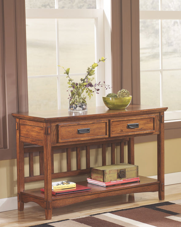 Cross Island - Medium Brown - Console Sofa Table