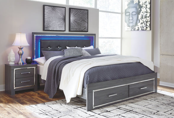 Lodanna - Gray -  Panel Bed with Storage