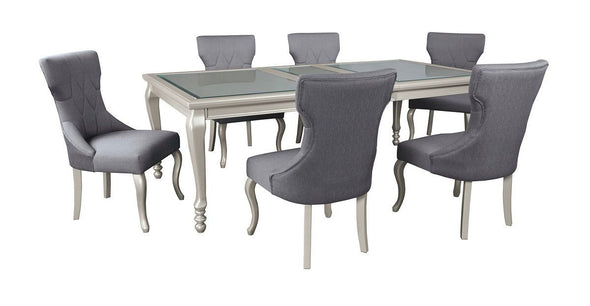 Coralayne - Silver Finish - 7 Pc. - RECT DRM EXT Table & 6 UPH Side Chairs