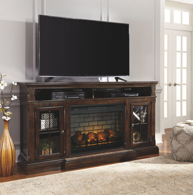 Roddinton - Dark Brown - XL TV Stand with LG Fireplace Insert Infrared