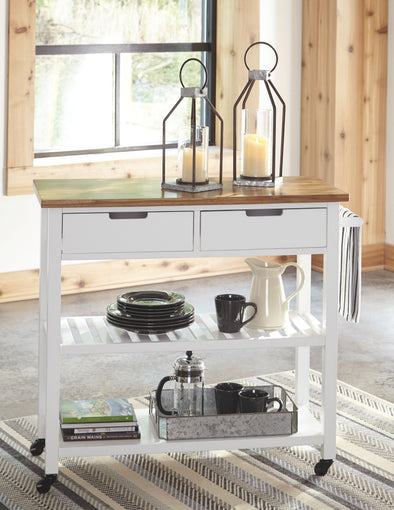 Withurst - White/Light Brown - Kitchen Cart