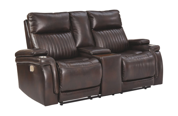 Team Time - Chocolate - PWR REC Loveseat/CON/ADJ HDRST
