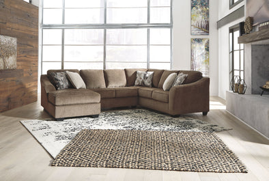 Graftin - Teak - LAF Corner Chaise, Armless Loveseat & RAF Sofa with Corner Wedge Sectional