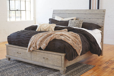 Naydell - Rustic Gray -  Panel Bed with 2 Storage Drawers