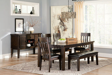 Haddigan - Dark Brown - 6 Pc. - RECT DRM EXT Table, 4 UPH Side Chairs & UPH Bench