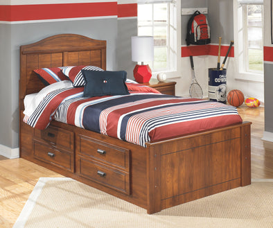 Barchan - Medium Brown -  Panel Bed with Under Bed Storage