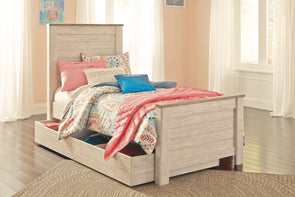 Willowton - Whitewash -  Panel Bed with Storage