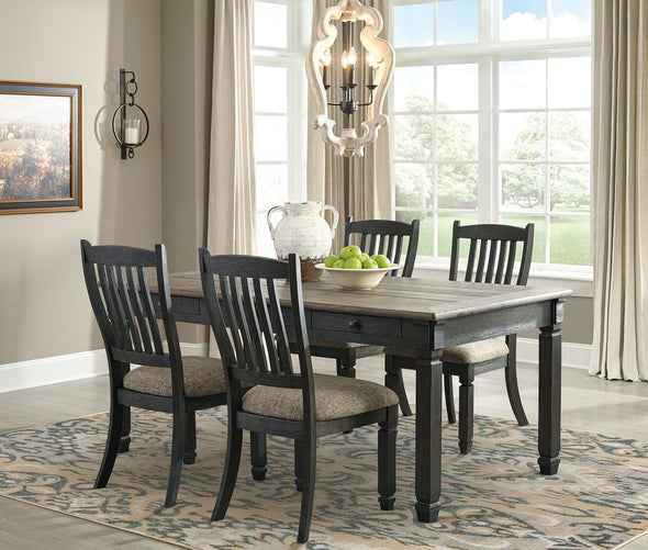 Tyler Creek - Black/Gray - 5 Pc. - RECT DRM Table & 4 UPH Side Chairs