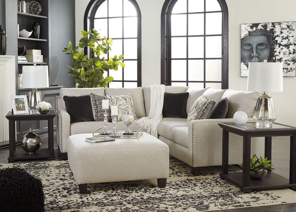 Hallenberg - Fog - LAF Loveseat, Armless Chair & RAF Sofa with Corner Wedge Sectional