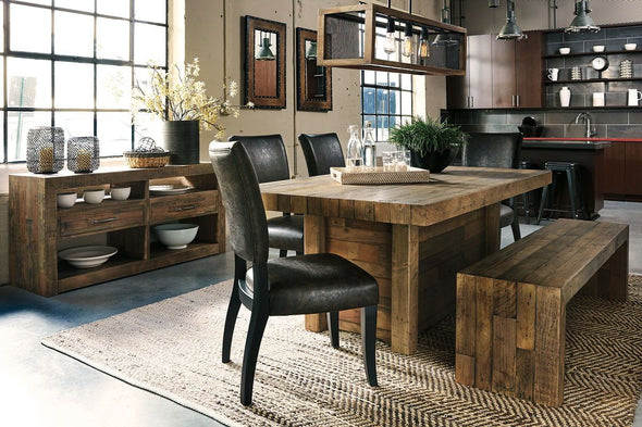 Sommerford - Brown - 7 Pc. - RECT DRM Table, 4 UPH Side Chairs, Large DRM Bench & Server