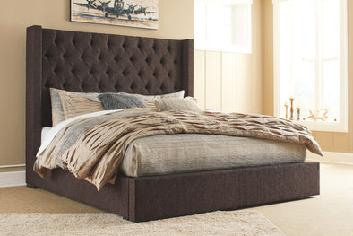 Norrister - Dark Brown -  UPH Bed with Storage