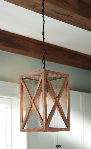 Jodene - Brown - Wood Pendant Light (1/CN)