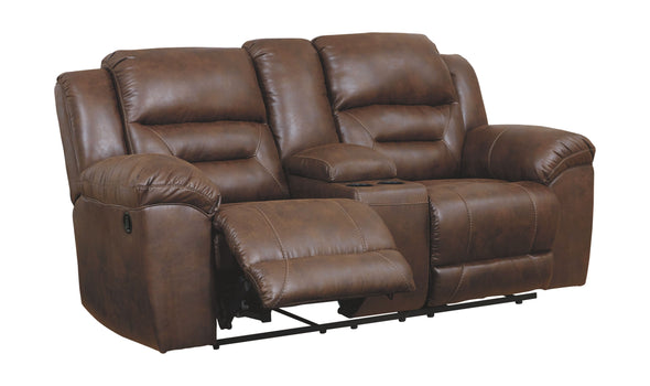 Stoneland - Chocolate - DBL Rec Loveseat w/Console