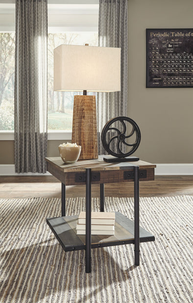 Bostweil - Light Brown/Black - Square End Table