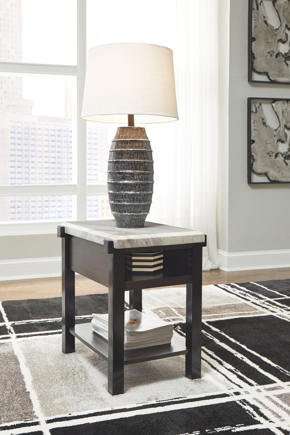 Janilly - Dark Brown/White - Chair Side End Table