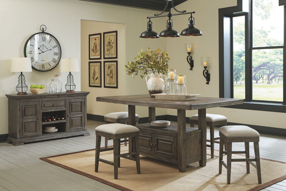 Wyndahl - Rustic Brown - 6 Pc. - RECT Counter Table with Storage, 4 UPH Stools & Server