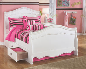 Exquisite - White -  Sleigh Bed with Storage