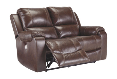 Rackingburg - Mahogany - Reclining Power Loveseat
