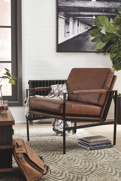Puckman - Brown/Silver Finish - Accent Chair