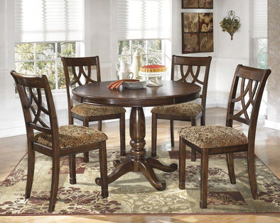 Leahlyn - Medium Brown - 6 Pc. - Round DRM Table & 4 UPH Side Chairs