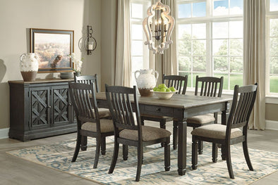 Tyler Creek - Black/Gray - 8 Pc. - RECT DRM Table, 6 UPH Side Chairs & Server