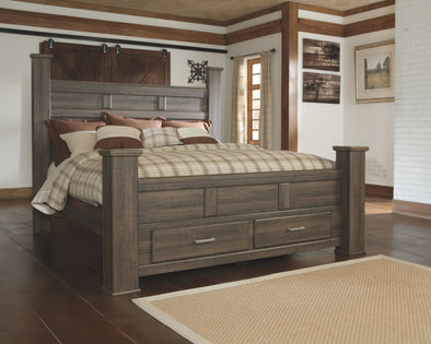 Juararo - Dark Brown -  Poster Bed with Footboard Storage