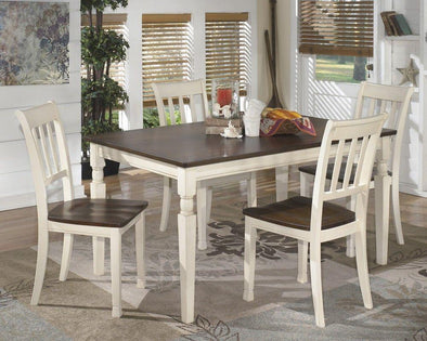 Whitesburg - Brown/Cottage White - 5 Pc. - RECT DRM Table & 4 Side Chairs