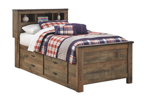 Trinell - Brown -  Bookcase Bed with Under Bed Storage