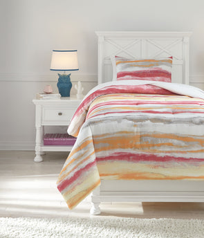 Tammy - Pink/Orange -  Comforter Set