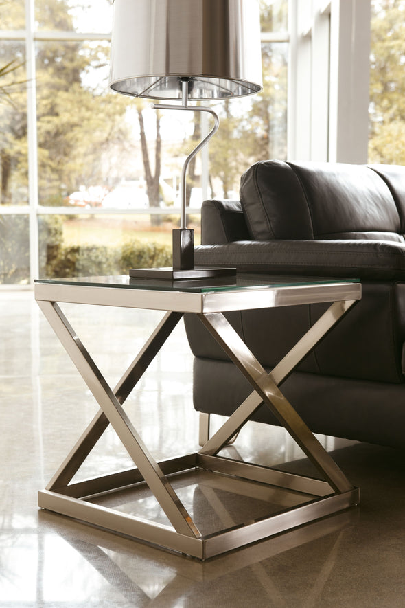 Coylin - Brushed Nickel Finish - Square End Table