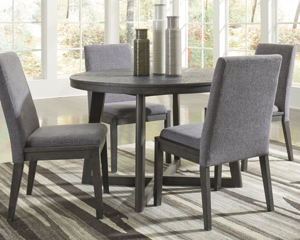Besteneer - Dark Gray - 5 Pc. - Round DRM Table & 4 UPH Side Chairs