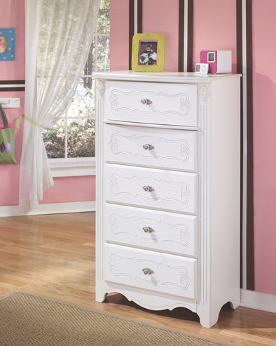 Exquisite - White - Five Drawer Chest