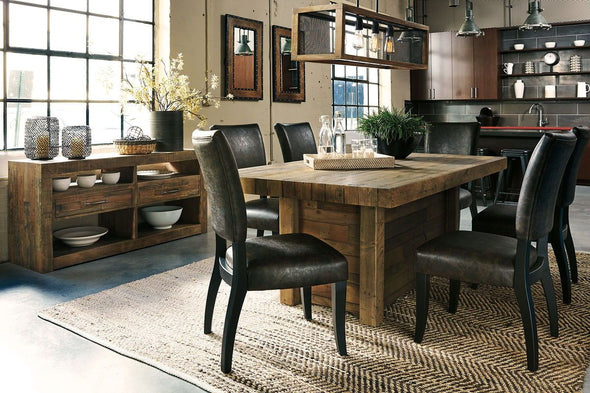 Sommerford - Brown - 8 Pc. - RECT DRM Table, 6 UPH Side Chairs & DRM Server