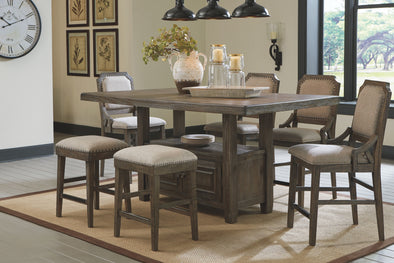 Wyndahl - Rustic Brown - 7 Pc. - RECT Counter Table with Storage, 4 UPH Barstools & 2 UPH Stools