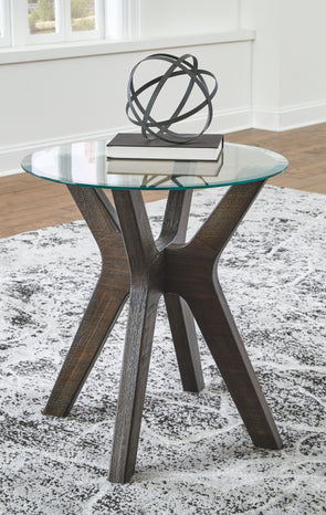 Zannory - Grayish Brown - Round End Table