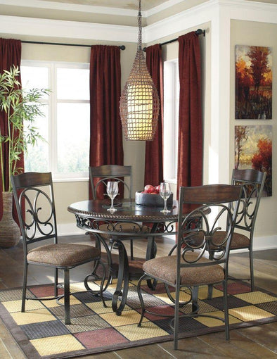 Glambrey - Brown - 5 Pc. - Round DRM Table & 4 UPH Side Chairs
