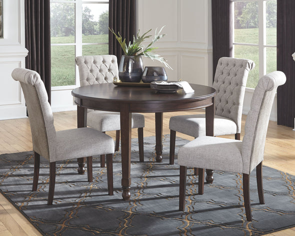 Adinton - Reddish Brown - 5 Pc. - Oval DRM EXT Table & 4 UPH Side Chairs
