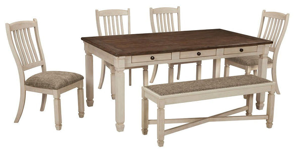 Bolanburg - Antique White - 6 Pc. - RECT DRM Table, 4 UPH Side Chairs & UPH DRM Bench