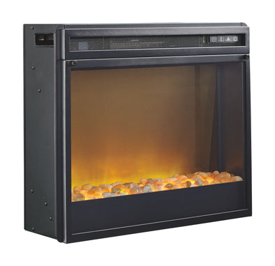 Entertainment Accessories - Black - Fireplace Insert Glass/Stone