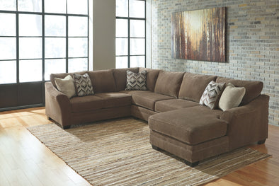 Justyna - Teak - LAF Sofa, Armless Loveseat & RAF Corner Chaise Sectional