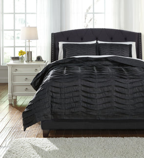 Voltos - Charcoal - Queen Duvet Cover Set