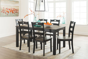 Froshburg - Grayish Brown/Black - Dining Room Table Set (7/CN)