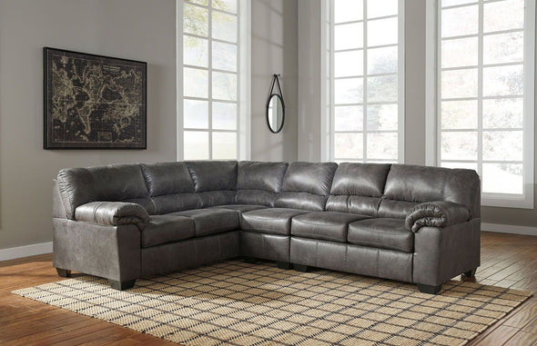 Bladen - Slate - LAF Sofa, Armless Chair & RAF Loveseat Sectional