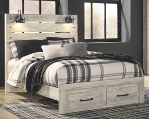Cambeck - Whitewash -  Panel Bed with Storage