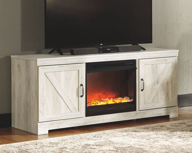 Bellaby - Whitewash - LG TV Stand with Fireplace Insert Glass/Stone