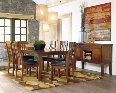 Ralene - Medium Brown - 8 Pc. - RECT DRM Butterfly EXT Table, 6 UPH Side Chairs & Server