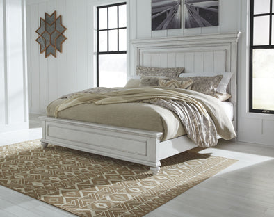 Kanwyn - Whitewash -  Panel Bed