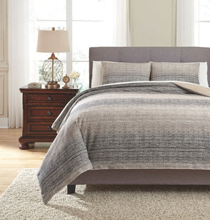 Arturo - Natural/Charcoal - Queen Duvet Cover Set