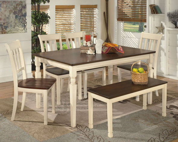 Whitesburg - Brown/Cottage White - 6 Pc - RECT DRM Table, 4 Side Chairs & Bench